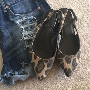 Pointed toe leopard flats